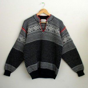 Nordic Nomad Mens Vintage Wool Ski Sweater Sz M